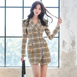 latest ladies fashion dresses 2020 - Korean version of the latest office lady fashion long-sleeved slim plaid double-breasted suit dress discount latest ladi