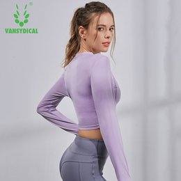 24567bbd72a1c Vansydical Women Cropped Seamless Long Sleeve Top Sportswear for Women Gym  Yoga Shirt Thumb Hole Fitted Workout Shirts For #668680