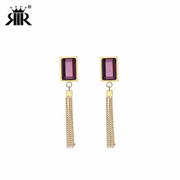 Wholesale RIR Stainless Steel Rectangular Gold Outline Purple Crystal Tassel Stud Earring Dance Party Bridesmaid Jewellery Earrings Gift