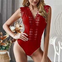 $enCountryForm.capitalKeyWord Australia - Sexy Lace bodysuit V-neck lace see-through Plunge bodysuit women Tops Sleeveless Jumpsuit Female Club Wear