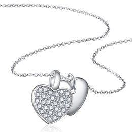 """$enCountryForm.capitalKeyWord Australia - Moertifei Solid 925 Genuine Sterling Silver Double Heart Charm Pendant Clear CZ Rolo Chain Necklace 18"""" for Women's Girl Gift Nickel Free"""
