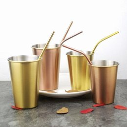 beer party decorations NZ - INS Gold Beer Steins Cup 304 Stainless Steel Cups Fashion Whiskey Beer Cups 500ML Wine Cups For Party Bar