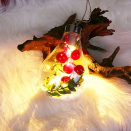 plastic pendant lamp diy Australia - DIY Plastic Christmas Tree LED Lamp Pendant Bulb Shaped Clear Hanging Ball Drop Ornaments