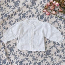 girls white lace blouses Canada - 2020 Spring Baby Girls White Lace Embroidery Shirts Korean Style Pure Cotton Toddlers Children Princess Blouses Sweet Tops T200229