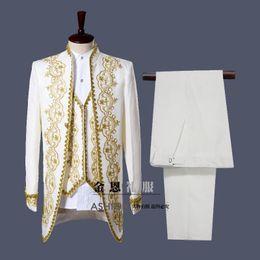 $enCountryForm.capitalKeyWord NZ - Crazy2019 Style Gold White Embroidery Men Tuxedos Classic Groomsmen Men Wedding Suit(Jacket+Pants+vest) White Black Actual Pictures