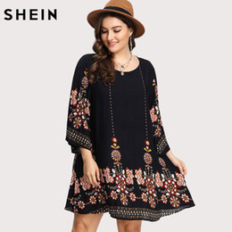 dc0822a32d4 Shein Black Plus Size Floral Embroidery Tunic Dress Spring Summer Elegant  Large Sizes Tribal Flower Print Vocation Dress Y190426