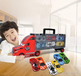 $enCountryForm.capitalKeyWord Australia - Diecast Model Cars Children's Toy Portable Container Car with 6 Simulation Alloy Car Boy Model Toy Wholesale