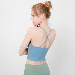 Wholesale Ladies Yoga Outfits Underwear Colors Sexy Breathable Quick Drying Vest Running Fitness Bra Sling Fashion Solid Shoulder Belt
