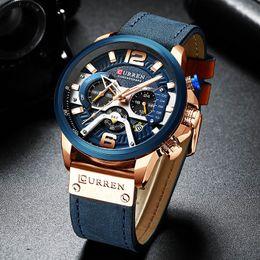 Curren Mens Relógios Top Marca de luxo Chronograph Men Watch de couro de luxo impermeável Sport Watch Men Masculino Relógio homem Relógio de pulso T200113 em Promoção