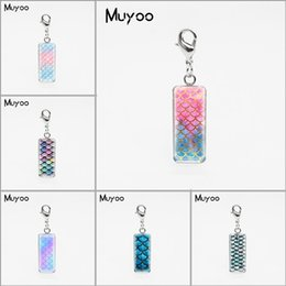 Scale Charms Australia - Fairy Tale Mermaid Scale Patterns Square Glass Dome Charm Pendants Beauty Fish Scale Stainless Steel Pendant Jewelry Accessories