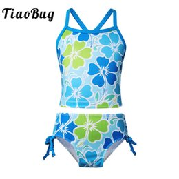 floral tankini top Australia - TiaoBug Kids Teens Floral Printed Tankini Swimsuit Swimwear Bathing Suit Girls Swim Tops with Briefs Bottom Bikini Set Beachwear