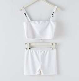 2020 New design women's star same style runway fashion logo letter print spaghetti strap short up-navel crop top vest bustier and short suit on Sale
