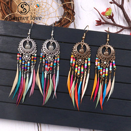 $enCountryForm.capitalKeyWord Australia - Hot Sale Golden Silver Vintage Feather Tassel Earrings for Women Long Fringed Dangle Earring Jewelry Gift