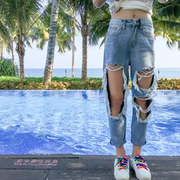 girls baggy pants NZ - Street Big Hole destroyed Ripped Boyfriend Jeans For Women Plus Size High Waisted Baggy Jeans Teen Girls Tattered Denim Jeans T200602