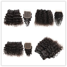 Curly hair perming online shopping - KISSHAIR short bob style natural color human hair straight body deep water wave jerry curly hair bundles with closure g piece