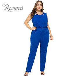Back Out Jumpsuit Rompers Australia - Fashion Women Plus Size Elegant Jumpsuit Hollow Out O-Neck Sleeveless V Back Long Pants Playsuit Rompers OL Overalls One