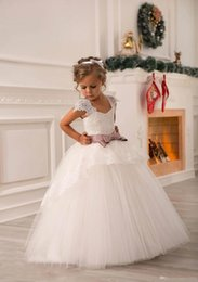 $enCountryForm.capitalKeyWord Australia - Flower Girls' Dresses Heart-necked shoulder-strap skirt with layered lace for children's beauty dress, tailor-made package with belt on back