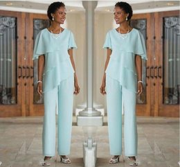 $enCountryForm.capitalKeyWord Australia - Custom Made Mother of the Bride Dresses Pants Suits Wedding Guest Dress 2019 Chiffon Short Sleeve Tiered Mother of Bride Pant Suits