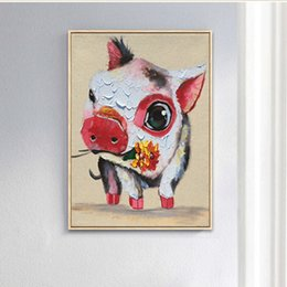 cute paintings NZ - High Quality Handpainted Modern Abstract Amimal Art Oil Painting Cute Pig On Canvas Wall Art Home Office Decor a15