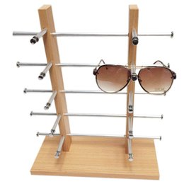 Wholesale 2 Row Layers Wooden Display Frame Rack Holder For Sunglasses Glasses Jewelry Various Glasses Display Hanger Shelf