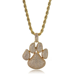 Dog Plates Australia - Dog Paw Prints Pendant Necklace 18K Gold Plated Brass Inlaid Cubic Zirconia Pendant 60cm Stainless Steel Chain