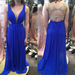 jacket dresses plus size special occasions 2019 - Sexy Blue Chiffon Long Prom Dresses Spaghetti Straps Open Back Beaded Evening Gowns Column 2019 Cheap special occasion d