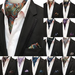 7f6fe0d88b03 Mans Vintage 100% Silk Ascot Tie Pocket Square Set Luxury Mans Paisley  Flower Cravat Neck Tie Handkerchief Gifts for Men