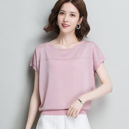 Bat Sleeve T Shirts NZ - 2019 New Arrivals Bat Short Sleeve Bling T-shirt Solid Loose Bright Silk Knit Women T shirts Summer Casual O-Neck Fashion Tshirt