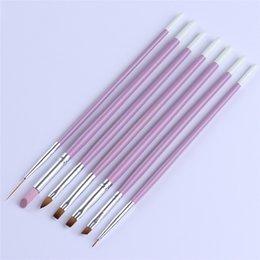Discount nail art acrylic paint kit - 7pcs set Drawing Nail Art Brush Pens Set Acrylic Painting Cuticle Remove Nail Painting Tool Manicure Kit