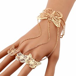 $enCountryForm.capitalKeyWord Australia - 100% Brand New Fashion Bracelets Women Simple Hollow Butterfly Bangle Bracelet Finger Ring Popular Charm Bracelets Gifts