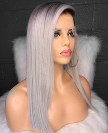 $enCountryForm.capitalKeyWord Australia - 100% Unprocessed lace wig grey Two Tone Color ombre lace wig 1b gray full lace wigs With baby hair with baby hair