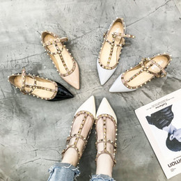 Korean heeled shoes online shopping - Female New Kind of Korean Edition Student Rivet Flat sole Shoes with Shallow Mouth Quality Single Shoe Female Net Red Female Shoes Spri