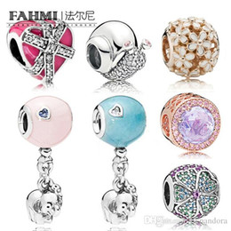 Elephants Flowers Australia - FAHMI 100% 925 Sterling Silver Sparkling Snail Hot Air Balloon with Elephant Beads Daisy Rose Gold Charm Love Heart Beads