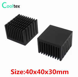 Discount processor ram - radiation thermometer 5pcs lot 40x40x30mm Aluminum HeatSink black Heat Sink radiator for electronic Chip LED RAM COOLER