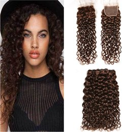 $enCountryForm.capitalKeyWord UK - Dark Brown Wet and Wavy Hair Bundles with Closure #4 Chocolate Brown Peruvian Water Wave Human Hair Weave Wefts with Lace Closure 4x4
