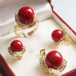 $enCountryForm.capitalKeyWord Australia - 10mm &14mm Coral Red South sea Shell Pearl Earrings Ring Necklace Pendant Set Crystal Women Wedding