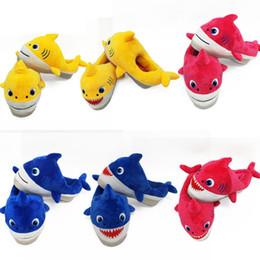 BaBy size slippers online shopping - 22cm Led Baby Shark Plush Shoes Slipper With Music Cartoon Warm Slippers Unisex Slip On Household Hoom Shoes Kids Casual Sandal GGA2512