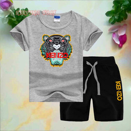$enCountryForm.capitalKeyWord Australia - KNZO Little Kids Sets 1-7T Kids T-shirt And Short Pants 2Pcs sets Baby Boys Girls 95% Cotton Tiger Design Printing Style Summer Sets