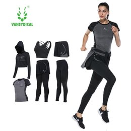 Female Sport Clothes Australia - 2017 Vansydical Suits Women Sportswear Female Sports Trousers Fitness Gym Running Sets Quick Dry Gym Clothes Suit 6pcs