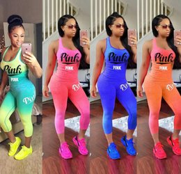 Women Plus Cotton Tracksuit Australia - Women Tracksuit Summer Outfits Pink 2 Two Pieces Letter Printing Clothes Sportswear T Shirt Cotton Sleeveless Plus Size Women Clothing