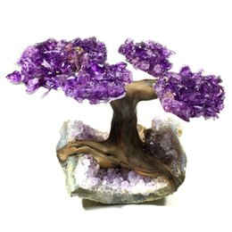 Wire Crystal Tree Australia - Uruguay Amethyst Geode Crystal Cluster Wire Tree Of Life art TWIN SPIRIT TREE