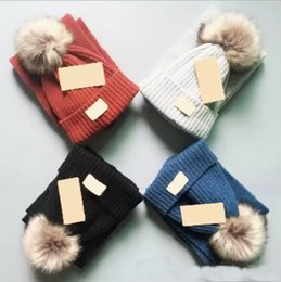 Cashmere Beanies Australia - Top brand Unisex Double Knitted Winter Hats Scarf Set Ball Hat Pom Pom Beanies Baby Girls Warm Cap Scarf Two Piece Sets coco