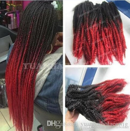 two tone hair braids NZ - 12 Packs Full Head Two Tone Marley Braid Hair 20inch Black Red Ombre Synthetic Hair Extensions Kinky Twist Braiding Fast Express Shipping