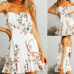 $enCountryForm.capitalKeyWord Australia - Summer Bohemian Dress 2019 Women's Summer Fashion Flower Print Ruffles Split Dress Vacation Style vestidos robe femme @4