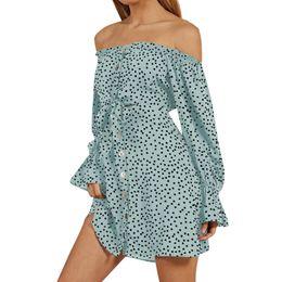 $enCountryForm.capitalKeyWord NZ - CHAMSGEND Women Slash Neck Long Sleeve Polka Dot Dress Fashion Causal Sweet Sexy Bow Mini Dress High Quality Polyester Ja4