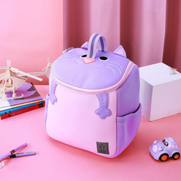 $enCountryForm.capitalKeyWord Australia - Purple Cat School Bags for Girls with Handle Nursery School Boys Kids Backpacks Fashion Cute Animals Design Mochila Best Gift