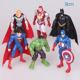 $enCountryForm.capitalKeyWord UK - The Avengers Super Heroes 6pcs set Action Figures 15cm Captain America Spider Man Hulk Thor Batman Wolverine Plastic Toys PVC Dolls wholesal