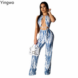 Halter Neck Jumpsuits For Women Australia - New Arrivals Tie Dye Printed Fashion Woman Full Length Jumpsuit Hot Sexy Halter Neck Strappy Open Back Jumpsuit for Night Club