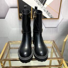 19SS tobillo de las mujeres botas de diseño de lujo del cuero de arranque de tacón grueso Martin Plataforma Zapatos cuero de la impresión de la marca de arranque con cordones con la caja B102833Y en venta