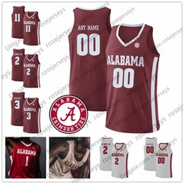 custom basketball jerseys Australia - Custom Alabama Crimson Tide 2020 Basketball Any Name Number 2 Kira Lewis Jr. 11 James Bolden 13 Jahvon Quinerly Red White Jersey 4XL